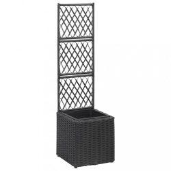 fekete rácsos polyrattan magaságyás 1 kaspóval 30 x 30 x 107 cm