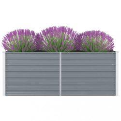 szürke horganyzott acél kerti magaságyás 160 x 80 x 45 cm