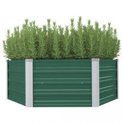 zöld horganyzott acél kerti magaságyás 129 x 129 x 46 cm