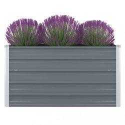 szürke horganyzott acél kerti magaságyás 100 x 100 x 45 cm