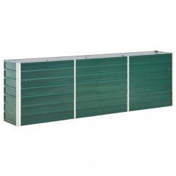 zöld horganyzott acél kerti magaságyás 240 x 40 x 77 cm