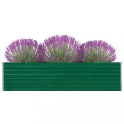 zöld horganyzott acél kerti magaságyás 320 x 40 x 77 cm