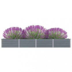 szürke horganyzott acél kerti magaságyás 320 x 40 x 45 cm