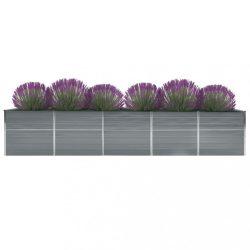 szürke horganyzott acél kerti magaságyás 400 x 80 x 45 cm