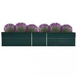 zöld horganyzott acél kerti magaságyás 400 x 80 x 45 cm
