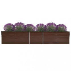barna horganyzott acél kerti magaságyás 400 x 80 x 45 cm