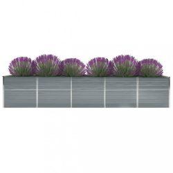 szürke horganyzott acél kerti magaságyás 400 x 80 x 77 cm