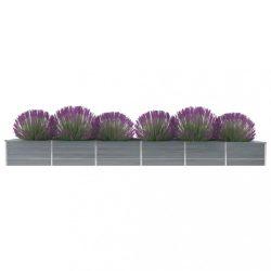 szürke horganyzott acél kerti magaságyás 480 x 80 x 45 cm