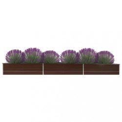 barna horganyzott acél kerti magaságyás 480 x 80 x 45 cm