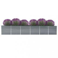 szürke horganyzott acél kerti magaságyás 480 x 80 x 77 cm