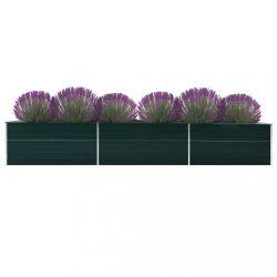 zöld horganyzott acél kerti magaságyás 480 x 80 x 77 cm