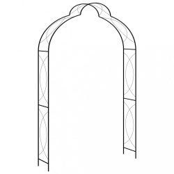 fekete vas kerti boltív kapuval 150 x 34 x 240 cm