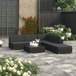 6 részes fekete polyrattan kerti bútorszett párnákkal