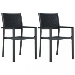 2 db fekete rattan hatású műanyag kerti szék