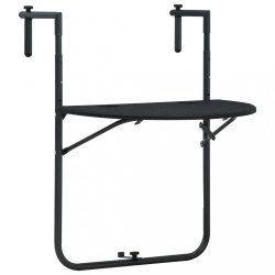 fekete rattan hatású műanyag függő erkélyasztal 60x64x83,5 cm