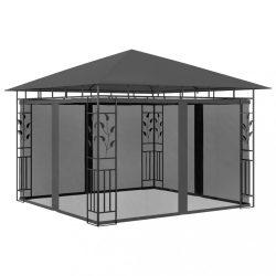 antracitszürke pavilon szúnyoghálóval 3 x 3 x 2,73 m 180 g/m?