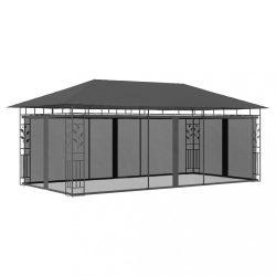 antracitszürke pavilon szúnyoghálóval 6 x 3 x 2,73 m