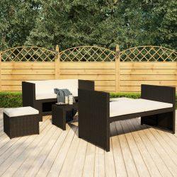 5 részes fekete polyrattan kerti ülőgarnitúra párnákkal
