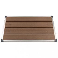 barna WPC és rozsdamentes acél kültéri zuhanytálca 110 x 62 cm
