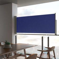 kék behúzható oldalsó teraszi napellenző 100 x 300 cm