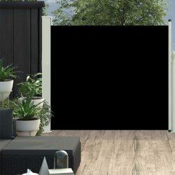 fekete behúzható oldalsó teraszi napellenző 100 x 300 cm