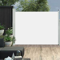 krémszínű kihúzható oldalsó teraszi napellenző 140 x 500 cm