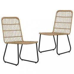 2 db tölgyszínű polyrattan kerti szék