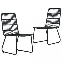 2 db fekete polyrattan kerti szék
