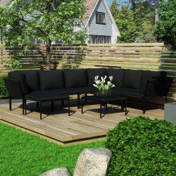 8 részes fekete PVC kerti ülőgarnitúra párnákkal
