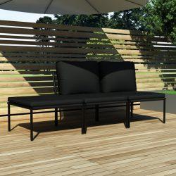 3 részes fekete PVC kerti ülőgarnitúra párnákkal