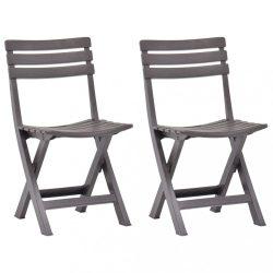 2 db mokkaszínű összecsukható műanyag kerti szék