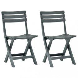 2 db zöld összecsukható műanyag kerti szék