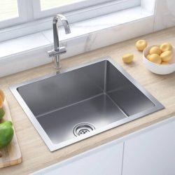 kézzel készült rozsdamentes acél mosogató szűrővel
