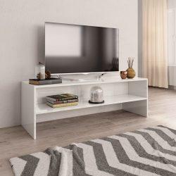 magasfényű fehér forgácslap TV-szekrény 120 x 40 x 40 cm