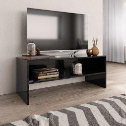 magasfényű fekete forgácslap TV-szekrény 100 x 40 x 40 cm