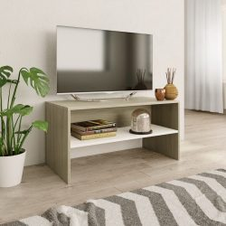 fehér és sonoma tölgy színű forgácslap TV-szekrény 80x40x40 cm