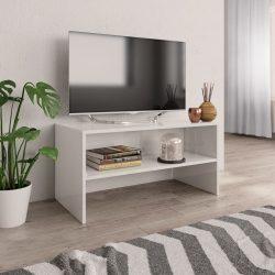 magasfényű fehér forgácslap TV-szekrény 80 x 40 x 40 cm