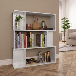 magasfényű fehér könyvszekrény/térelválasztó 80x24x96 cm