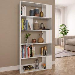 magasfényű fehér könyvszekrény/térelválasztó 80 x 24 x 159 cm