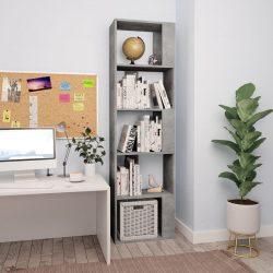 betonszürke könyvszekrény/térelválasztó 45 x 24 x 159 cm
