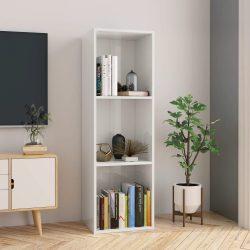 magasfényű fehér forgácslap könyv-/TV-szekrény 36x30x114 cm