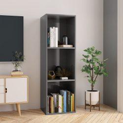 magasfényű szürke forgácslap könyv-/TV-szekrény 36x30x114 cm