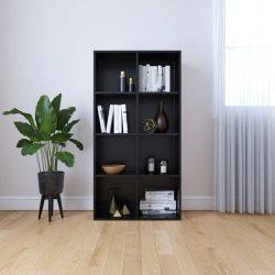 fekete forgácslap könyv-/tálalószekrény 66 x 30 x 130 cm