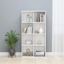 magasfényű fehér forgácslap könyv-/tálalószekrény 66x30x130 cm