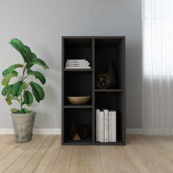 fekete forgácslap könyv-/tálalószekrény 50 x 25 x 80 cm