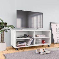 fehér forgácslap TV-szekrény görgőkkel 90 x 35 x 35 cm