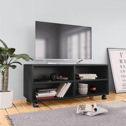 fekete forgácslap TV-szekrény görgőkkel 90 x 35 x 35 cm