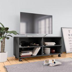 magasfényű szürke forgácslap TV-szekrény görgőkkel 90x35x35 cm