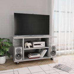 betonszürke forgácslap TV-szekrény görgőkkel 80 x 40 x 40 cm