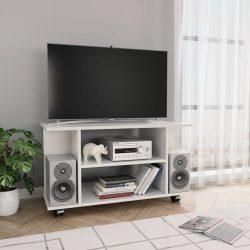 magasfényű fehér forgácslap TV-szekrény görgőkkel 80x40x40 cm